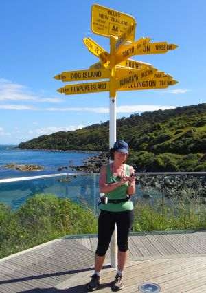 Photo of Jane at the start (southern end) of New Zealand's Te Araroa Trail when the idea for MAProgress was born